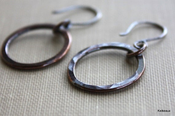 Small Copper Hoop Earrings, Hammered Circles with Sterling Silver