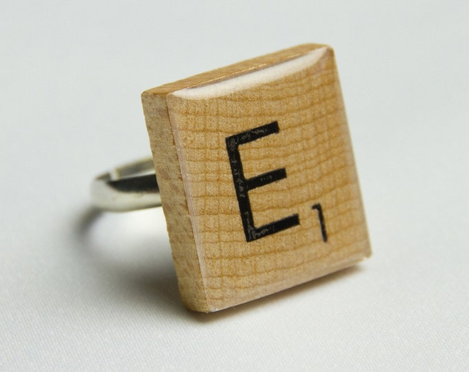 Customised Scrabble Tile Letter Ring.