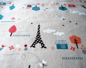 Eiffel Tower, Little Houses and Trees - Japanese Cotton-Linen Fabric (Fat Quarter)