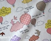 Air Travel - Cute Birds and Balloons in Pink - Cotton-Linen Fabric (Fat Quarter)
