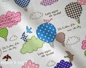 Air Travel - Cute Birds and Balloons in Blue - Cotton-Linen Fabric (Fat Quarter)