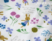 Garden Bunnies in Blue (Half Yard)