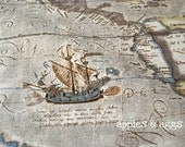 Vintage Nautical Map in Brown - Cotton-Linen Fabric (Fat Quarter)