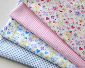 Hearts, Flowers and Butterflies Fabric Set (4 Pieces)