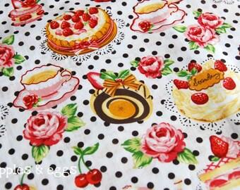 Polka Dots Tea Time in White (Half Yard)