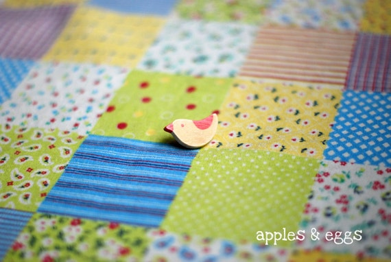 Cute Country Patchwork Japanese Cotton-Linen Fabric in Green and Yellow (Fat Quarter)