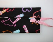 Small Snaptastic wallet with velcro closure - Lipstick fabric (pink strap)