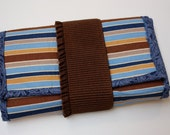 Wrap Wallet: Blue and Brown Stripes