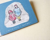 mini notebook children art journal pad cahier- winter notes-