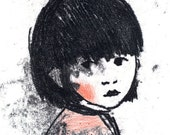 Illustration Monotype Print black ink- Red cheek Girl-