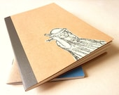 Art Notebook journal personalized ecru ink drawing - girl holding her hat -