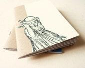 Art journal Notebook yellow  - girl holding her hat