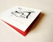 Handmade Mini art pad OOAK- red ivory - Kitty2-