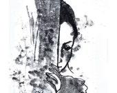 Original Monotype Drawing- black white - Around the corner -