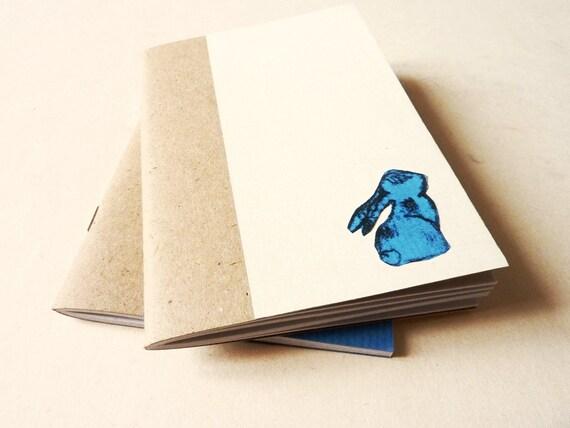 handmade Notebook journal yellow - the blue rabbit