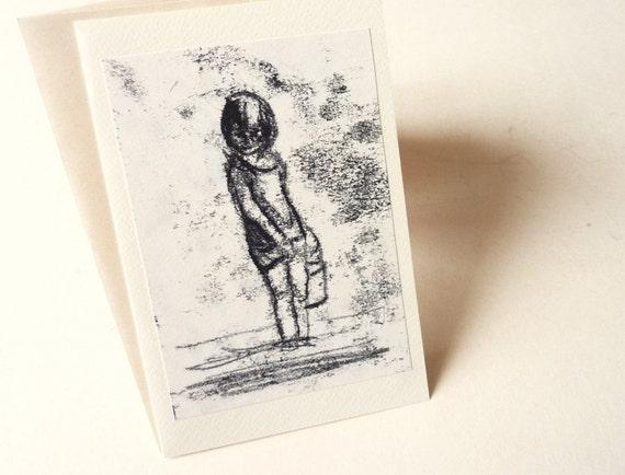 Illustration art card - OOAK- black ink -Wading-