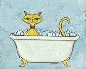 print of original art: yellow cat in tub