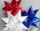 German Swedish Moravian Star - Set of 3  Patriotic Stars Ornaments - 3 Inch Size - Red White Blue