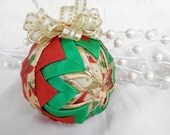 Traditional Poinsettia Christmas Star Ornament