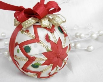 Cranberry PolkaDots Star Quilted Ornament - Polk a Dots, Gold, Green, Ivory