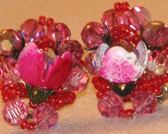 Vintage Pink Blossom Cluster Earrings 5337