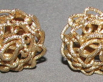 Vintage Signed Kramer Knotted Chain Earrings 5960