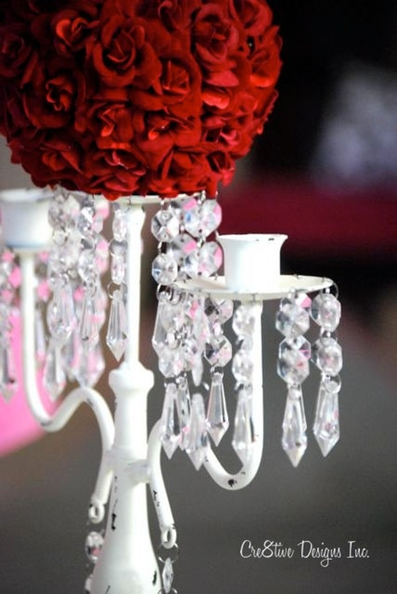 Candelabra Wedding Centerpiece  with Red Rose Flower Ball