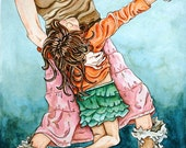 RESERVED for Eileen--Christmas Memories, Dancing Mother Child Family--Limited Edition Watercolor Print