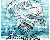 Writing Love, Blue Vintage Typewriter. Watercolor Art Print. Tell Your Story. Shabby, Urban Grunge Chic.