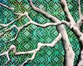 An Upbeat Peace, Retro Tree--Fine Art Giclee Print--A4--8 x 11.5