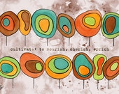 Children, Baby, Contemporary Nursery Wall Art--Geometric Trees Affordable Print--Funky Modern Circles, size A4