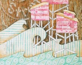 Mixed Media Collage Art Print. Pink Beach Houses, Cool Ocean Blues. Friendship, Storms of Life. Watercolor and Vintage Notebook Paper.