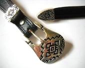 Vintage Belt . Navy Leather . Tribal Belt . FREE SHIPPING