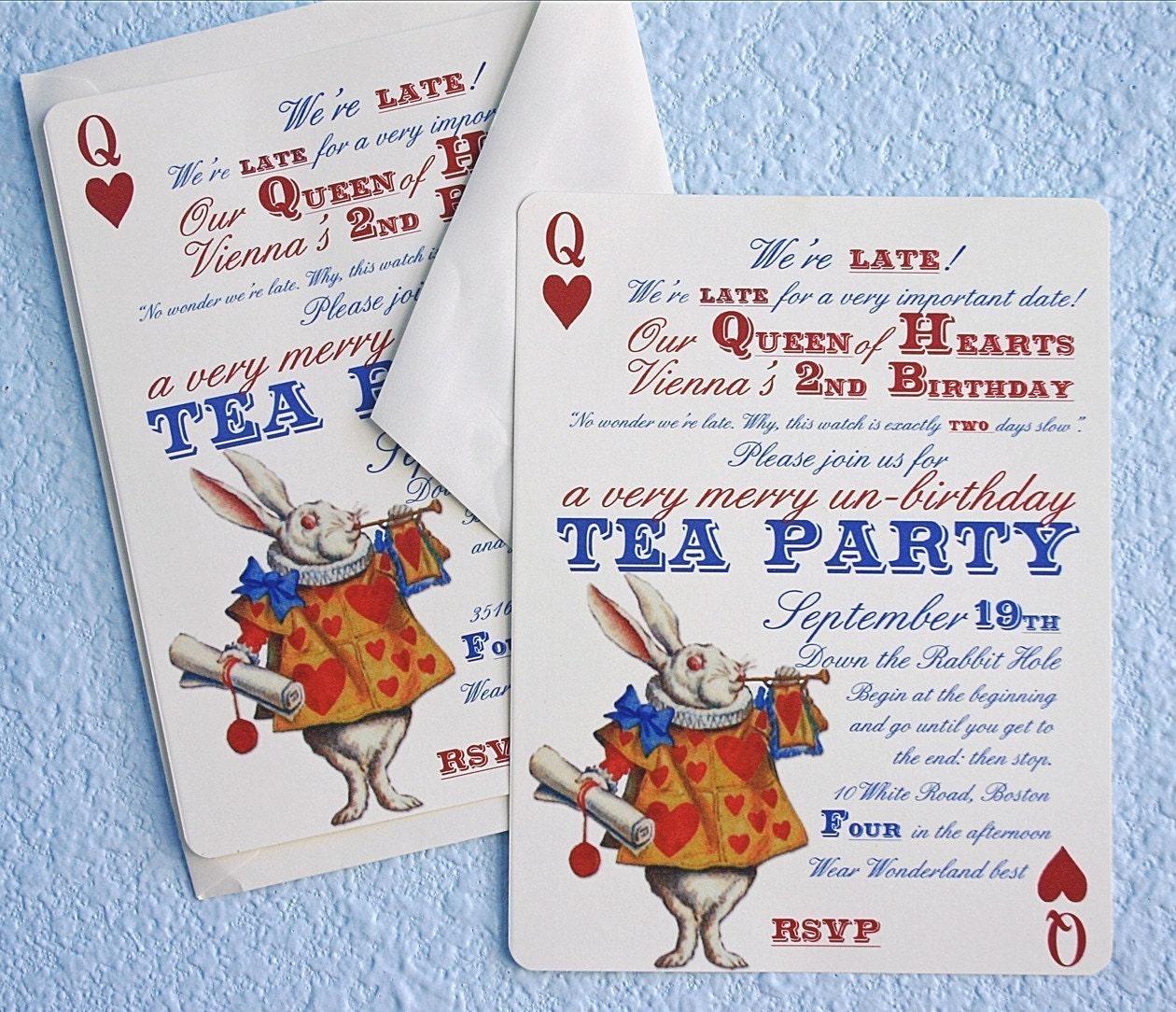 alice and wonderland tea party invitations