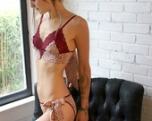 silk lingerie set including tie up knickers and triangle bralette - made to order