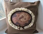 A trip to the monn steampunk cameo pillow