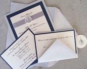 Elegant Wedding Invitation: Rhinestone Wedding Invite, Navy, Ivory & Silver Wedding Invitation, Handmade Metallic Wedding Invitation