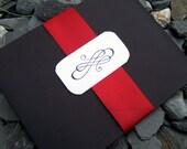 Pocketfold wedding invitation, black, red, ivory, white wedding invitation, modern pocketfold wedding invitation.