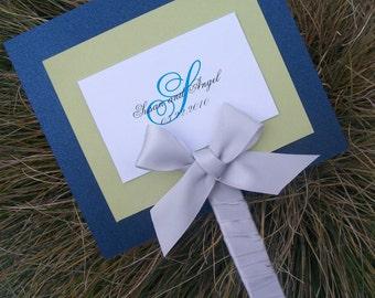 Fan wedding program, navy, ivory, green, program, layered wedding program, elegant wedding program