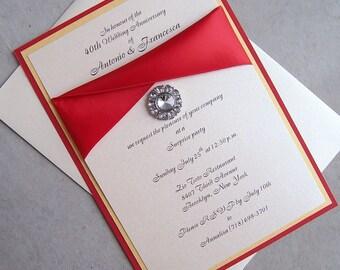 Elegant wedding invitation, red, ivory, gold wedding invitation, bling wedding invitation, layered weding invitation