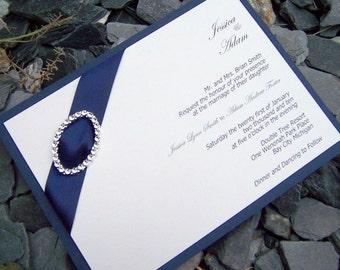 Elegant wedding invitation, rhinestone wedding invitation, navy, ivory wedding invitation