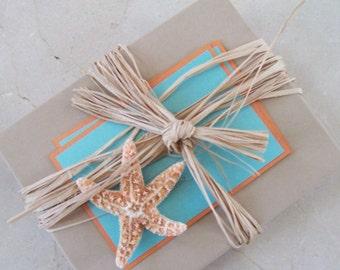 Starfish wedding invitation, destination wedding invitation, beach wedding invitation with starfish, Boxed wedding invitation