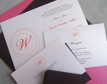 Custom Handmade Monogram Wedding Invitation: Pink, Orange, White, Ivory, Brown Wedding Invitation, Chic Invitation, Modern Wedding Invite