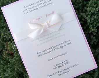 Baptism invitation, child birthday party invitation, baby shower invitation, pink, green, ivory, white invitation