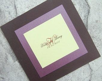 Modern wedding program, Layered program, brown, green, purple, red wedding program, fall wedding program