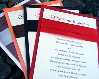 Classic wedding invitation, red, black, purple, orange, silver, invitation, elegant wedding invitation