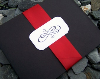 Pocketfold wedding invitation, black, red, ivory, white wedding invitation, modern pocketfold wedding invitation.