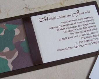 Camo Invitation, brown, green, tan wedding invitation, outdoor invitation,