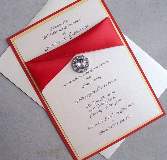 items similar to elegant wedding invitation red ivory With red rhinestone wedding invitations
