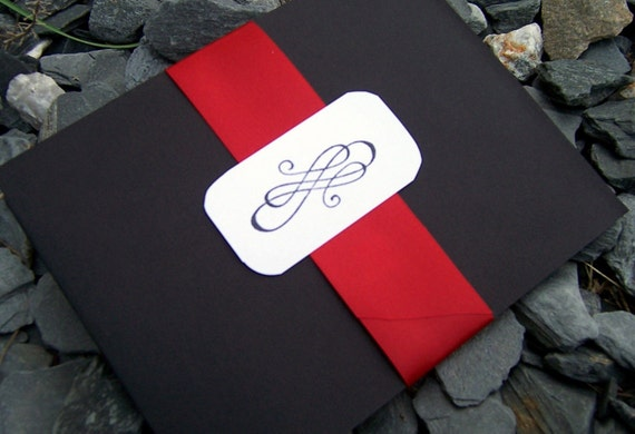 White And Red Wedding Invitations: Items Similar To Pocketfold Wedding Invitation, Black, Red